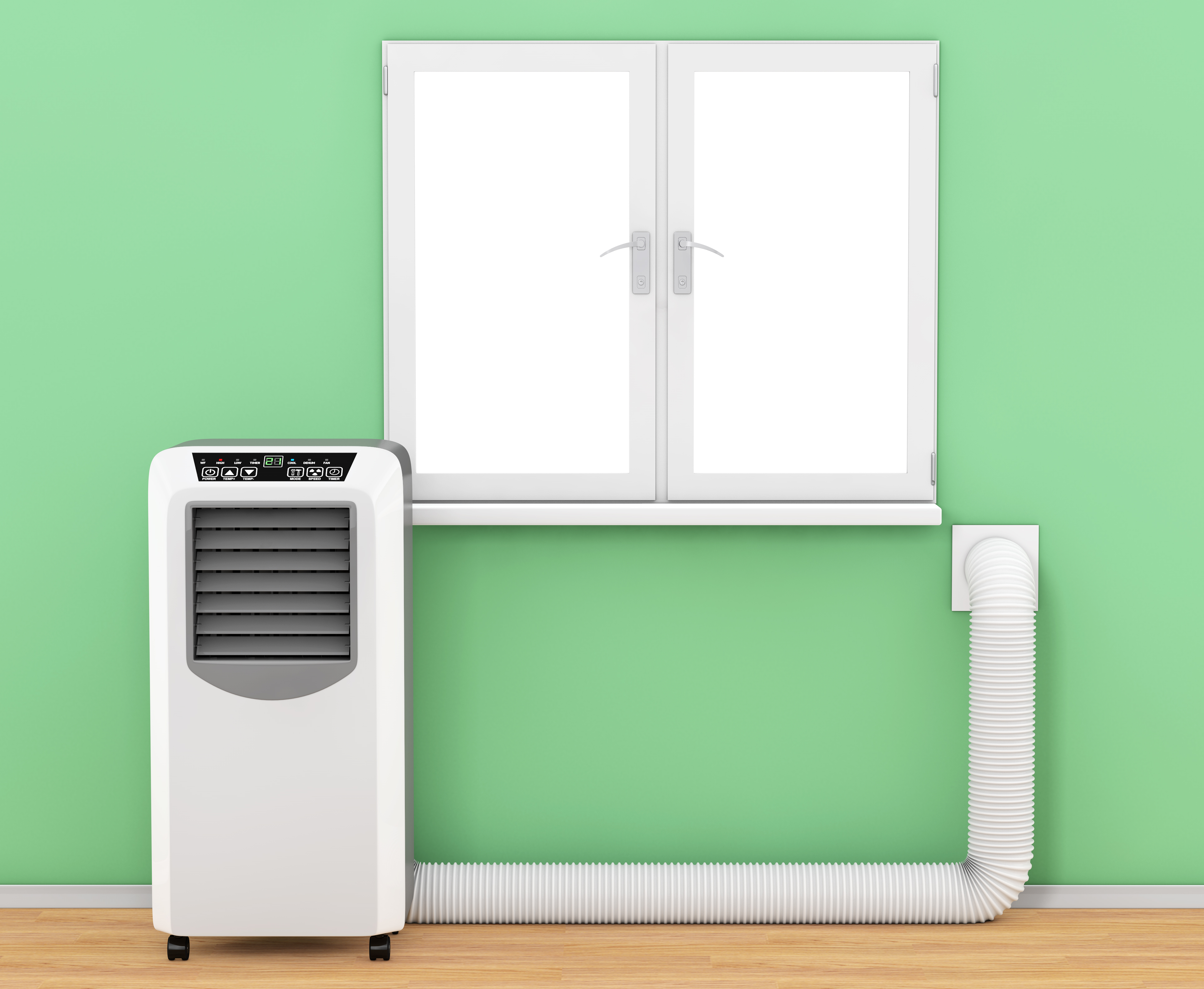 Portable air conditioning, venting through the wall.