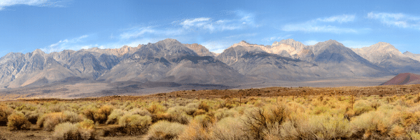 Sierra Nevada mountains, sagebrush, desert.